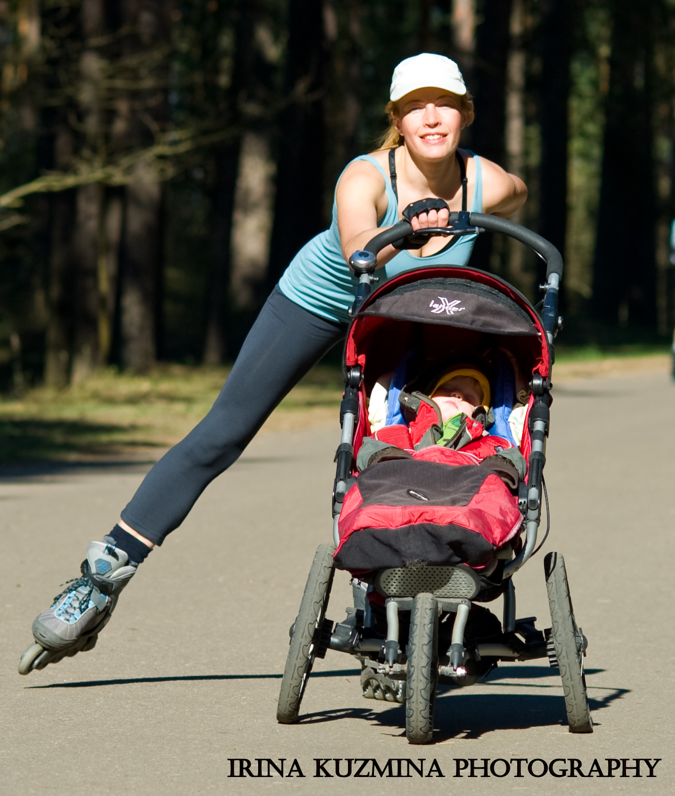 Women rollerblading with the jogging stroller